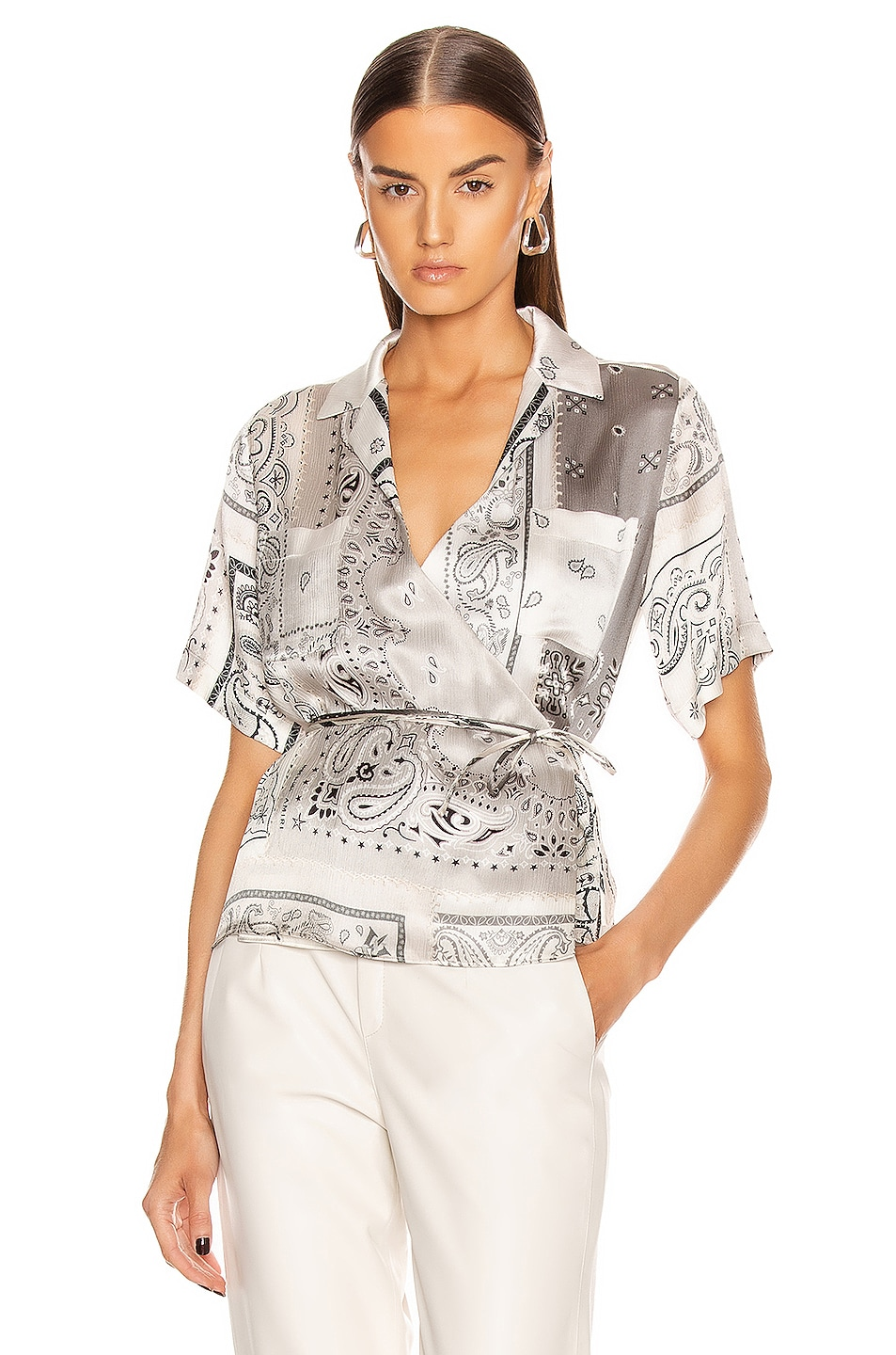 Image 1 of Amiri Bandana Reconstructed Wrap Top in Ivory