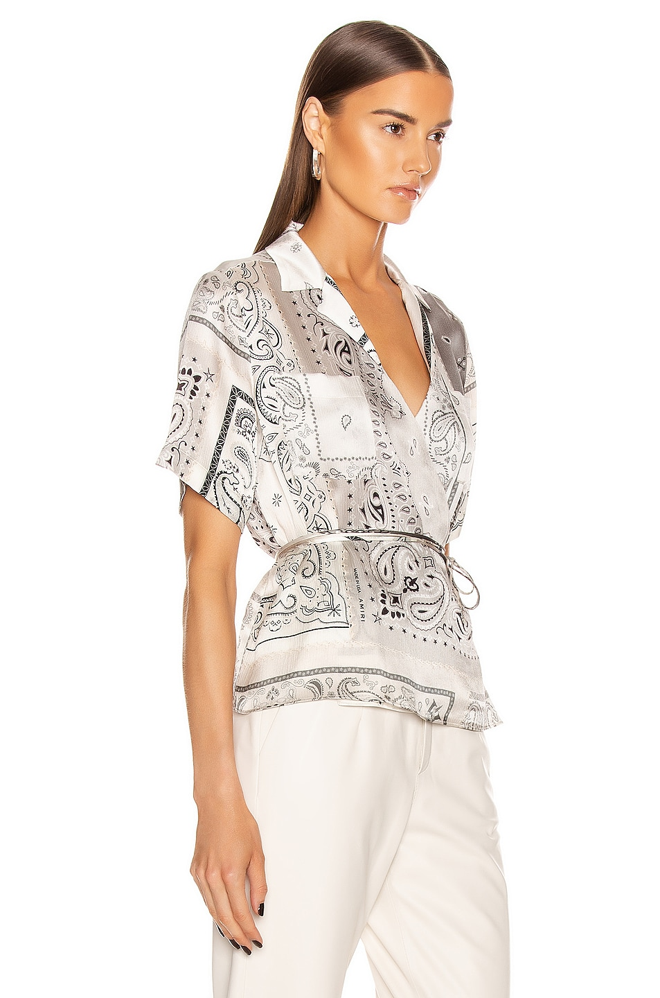 Image 2 of Amiri Bandana Reconstructed Wrap Top in Ivory
