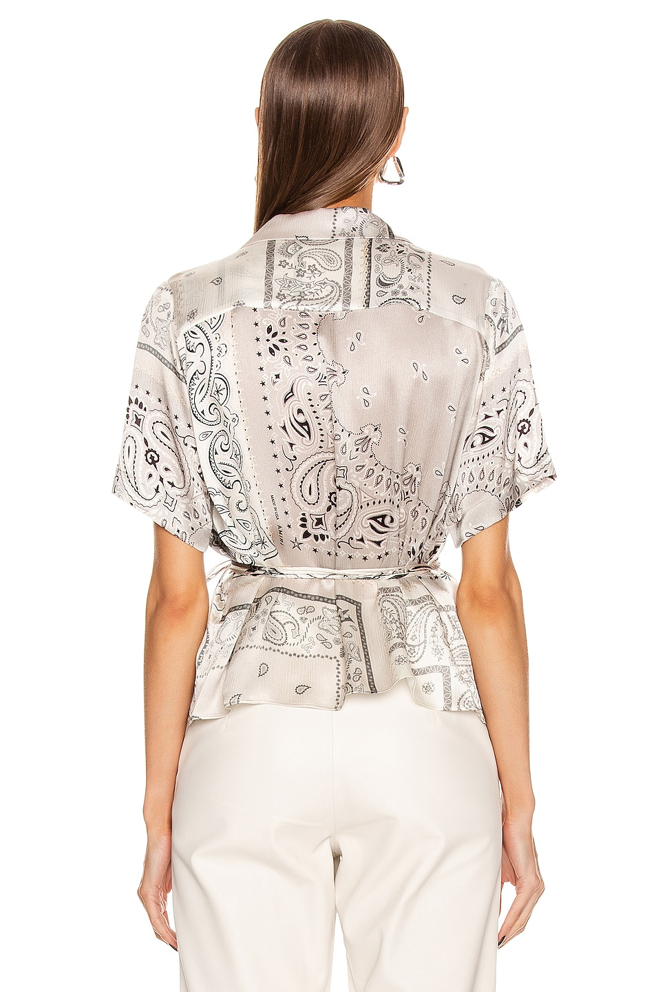 Image 3 of Amiri Bandana Reconstructed Wrap Top in Ivory