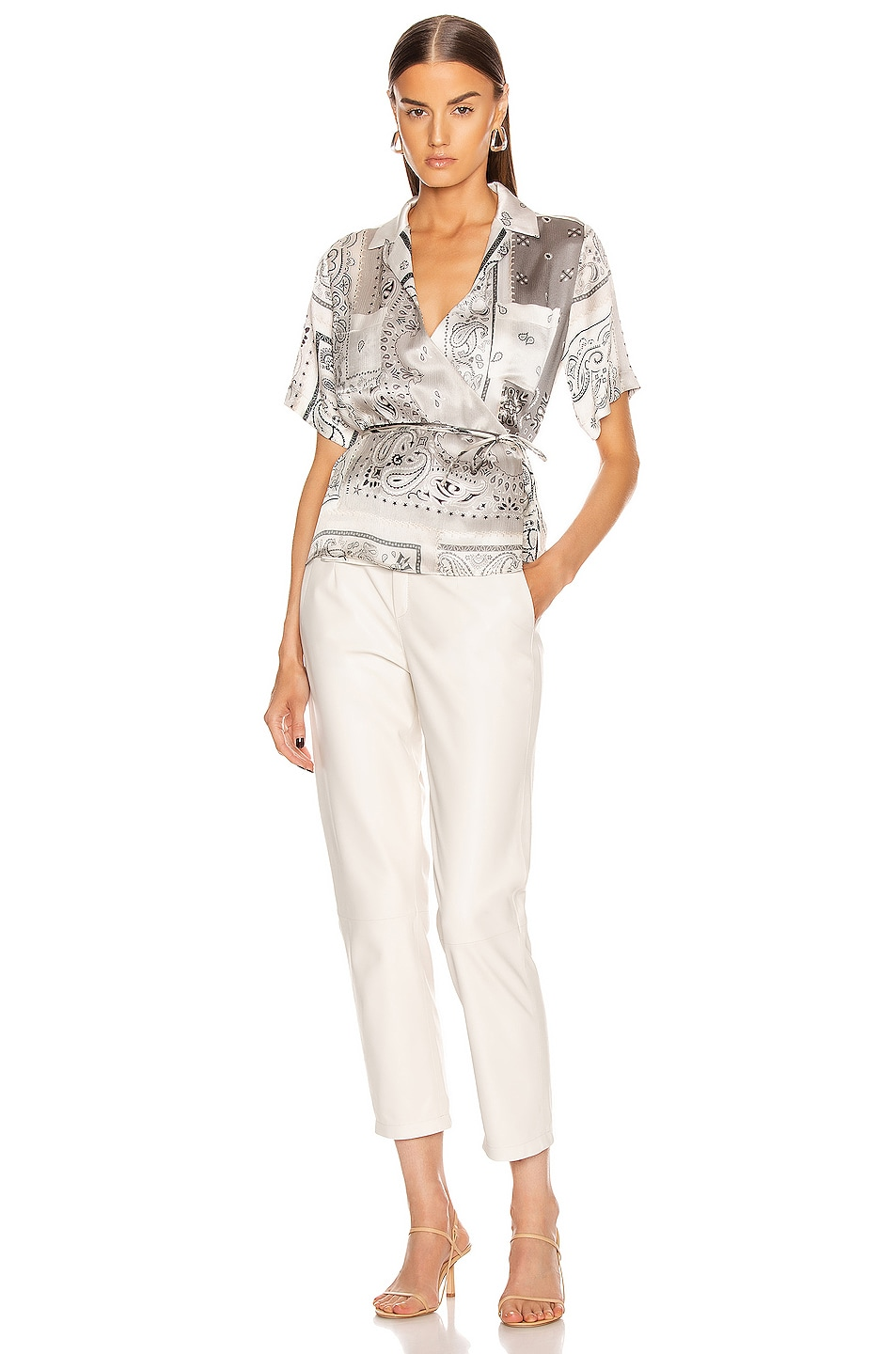 Image 4 of Amiri Bandana Reconstructed Wrap Top in Ivory