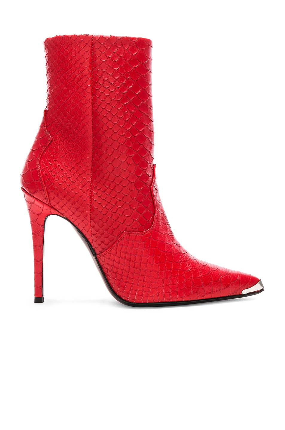 Image 1 of Amiri Western Embossed Snakeskin Boots in Red