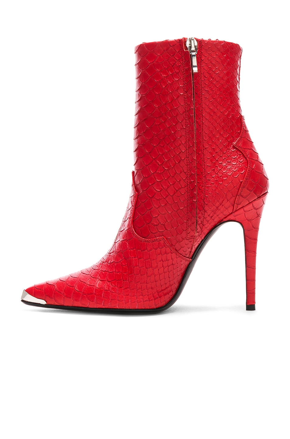 Image 5 of Amiri Western Embossed Snakeskin Boots in Red