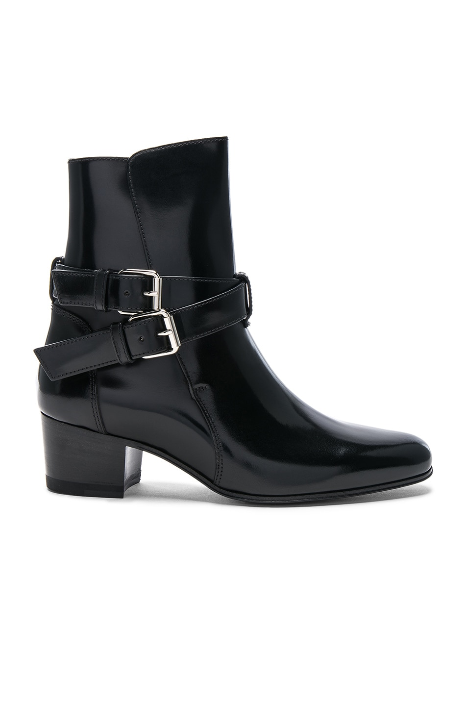 Image 1 of Amiri Buckle Leather Boots in Black Shine