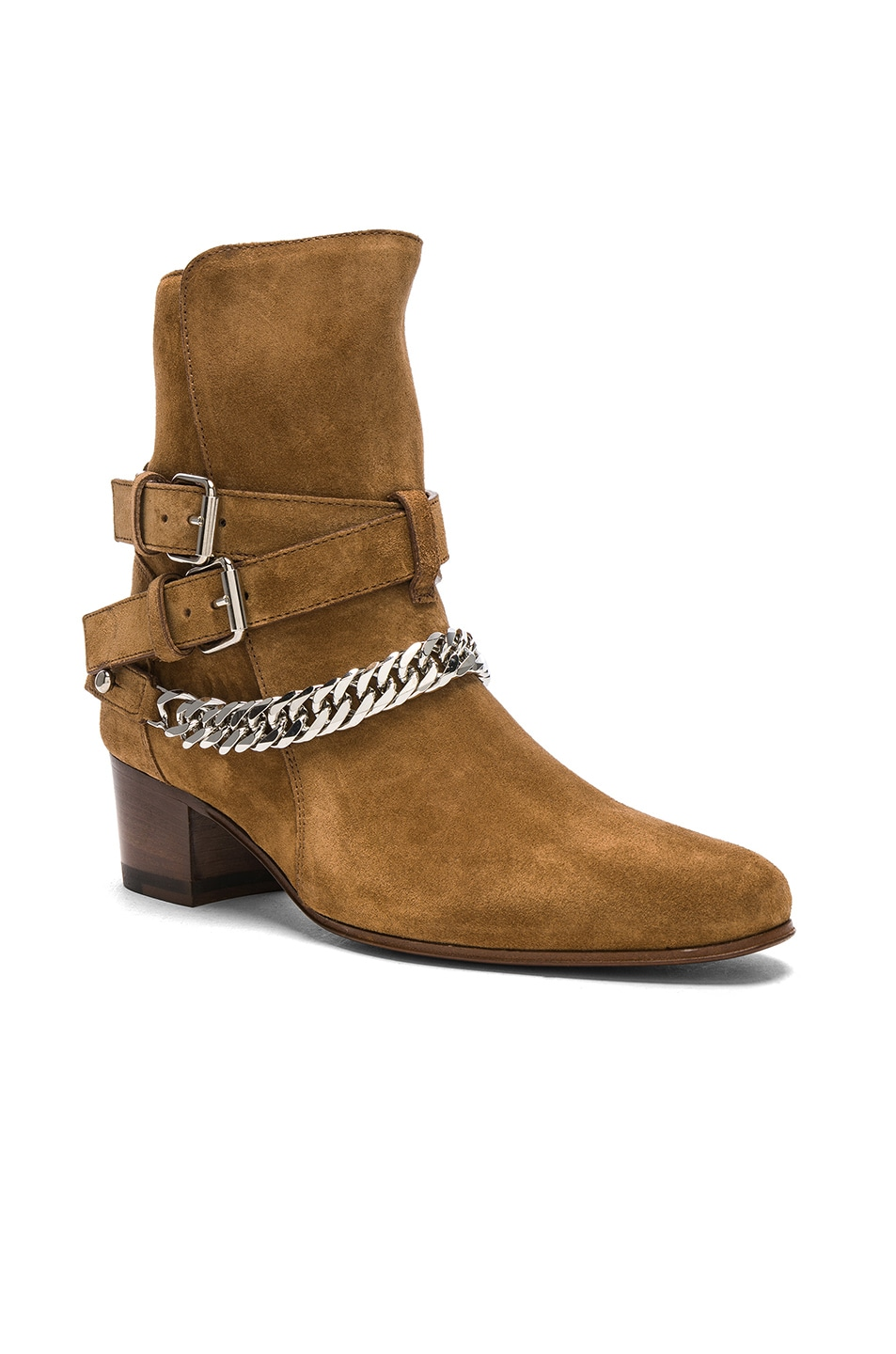 49b3aa32676 Image 2 of Amiri Chain Buckle Suede Boots in Brown