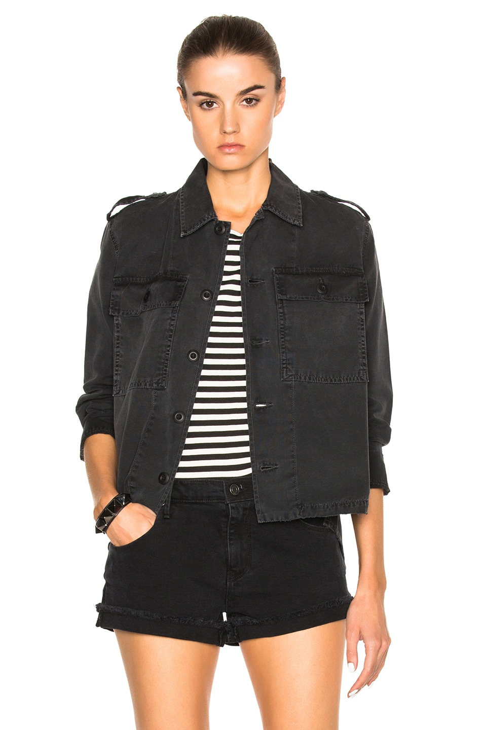 aa039a379b Image 1 of AMO Army Shirt Jacket in Washed Black