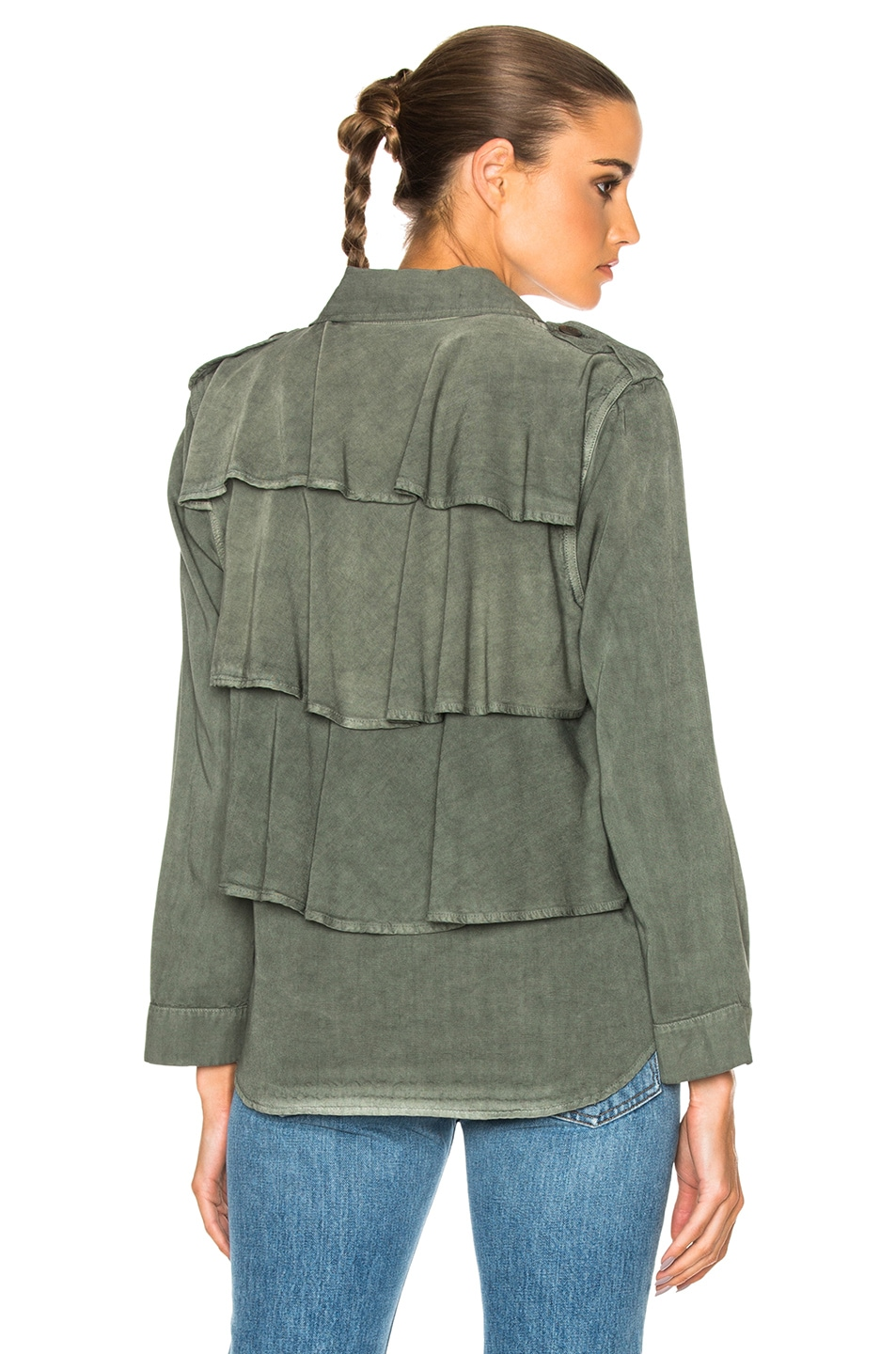 Image 1 of AMO Ruffle Army Twist Shirt Jacket in Surplus