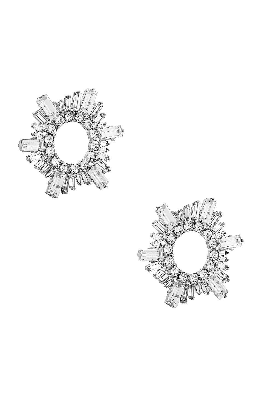 Image 1 of AMINA MUADDI Mini Begum Earrings in Silver & White Crystal