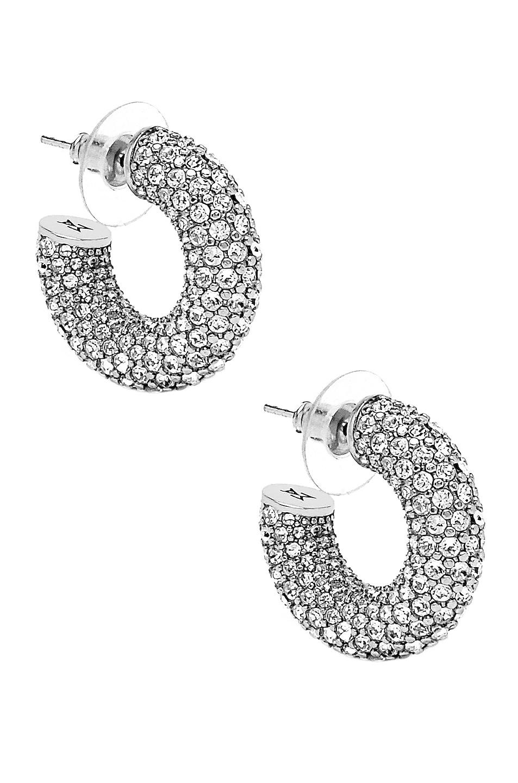 Image 1 of AMINA MUADDI Cameron Hoop Mini Earrings in Silver & White Crystal