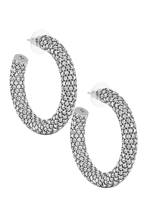 Image 1 of AMINA MUADDI Cameron Hoop Medium Earrings in Dark Silver & White Crystal
