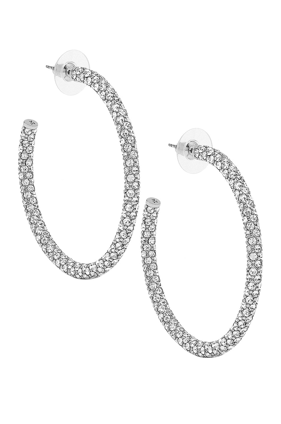 Image 1 of AMINA MUADDI Cameron Hoop Large Earrings in Silver & White Crystal