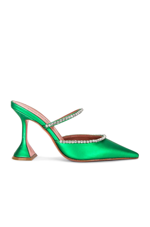 Image 1 of AMINA MUADDI Gilda Matte Mirror Mule in Green