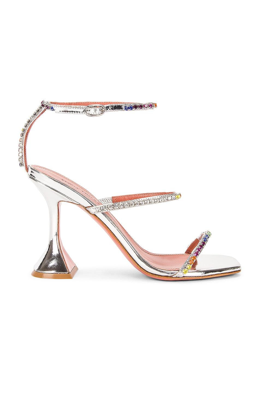 Image 1 of AMINA MUADDI Gilda Rainbow Mirror Sandal in Silver