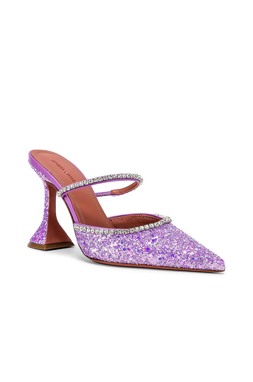 Image 2 of AMINA MUADDI Gilda Mule in Lilac Glitter