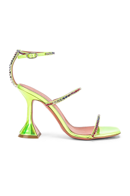 Image 1 of AMINA MUADDI Gilda Leather Sandal in Green Holographic & Rainbow