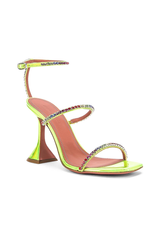 Image 2 of AMINA MUADDI Gilda Leather Sandal in Green Holographic & Rainbow