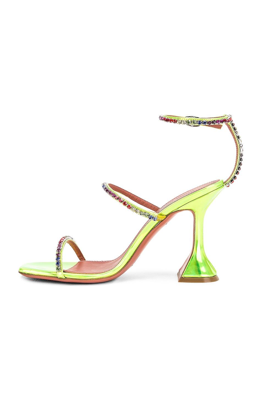 Image 5 of AMINA MUADDI Gilda Leather Sandal in Green Holographic & Rainbow
