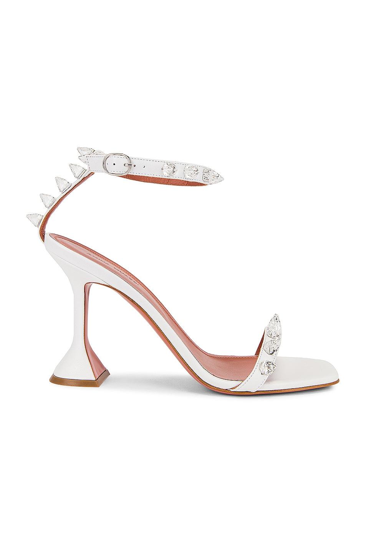 Image 1 of AMINA MUADDI Julia Sandal in White & White Spikes