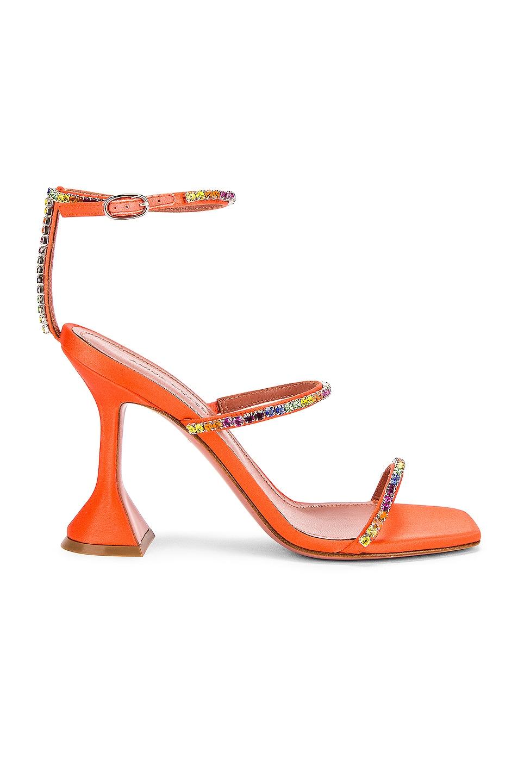 Image 1 of AMINA MUADDI Gilda Rainbow Sandal in Orange & Rainbow Crystal
