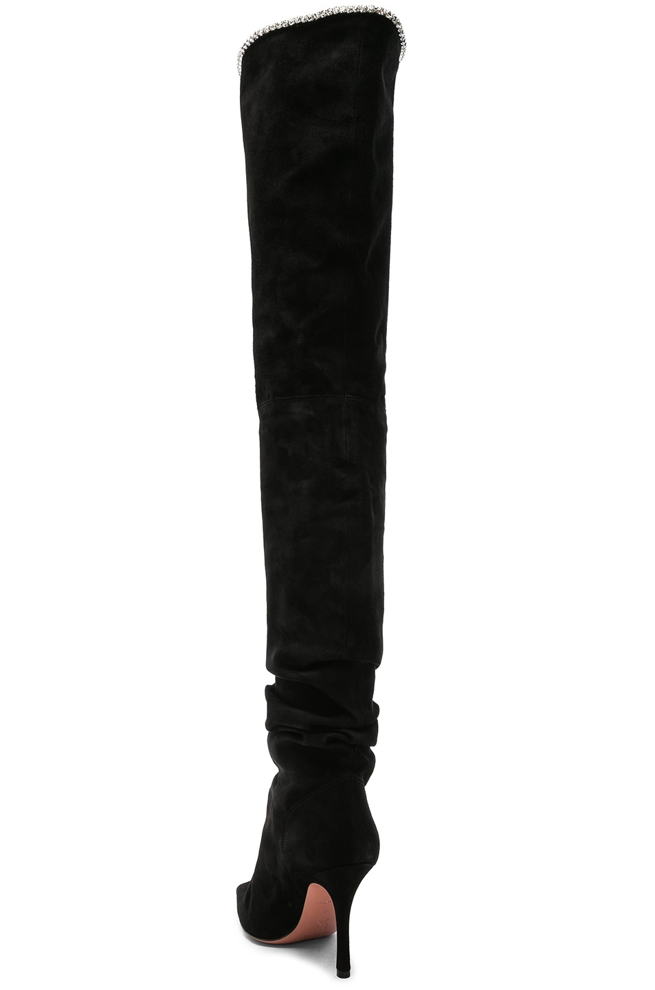 Image 3 of AMINA MUADDI Suede Barbara Thigh High Boots in Black & Crystals