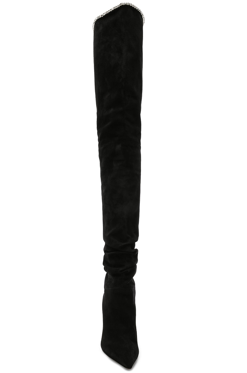 Image 4 of AMINA MUADDI Suede Barbara Thigh High Boots in Black & Crystals