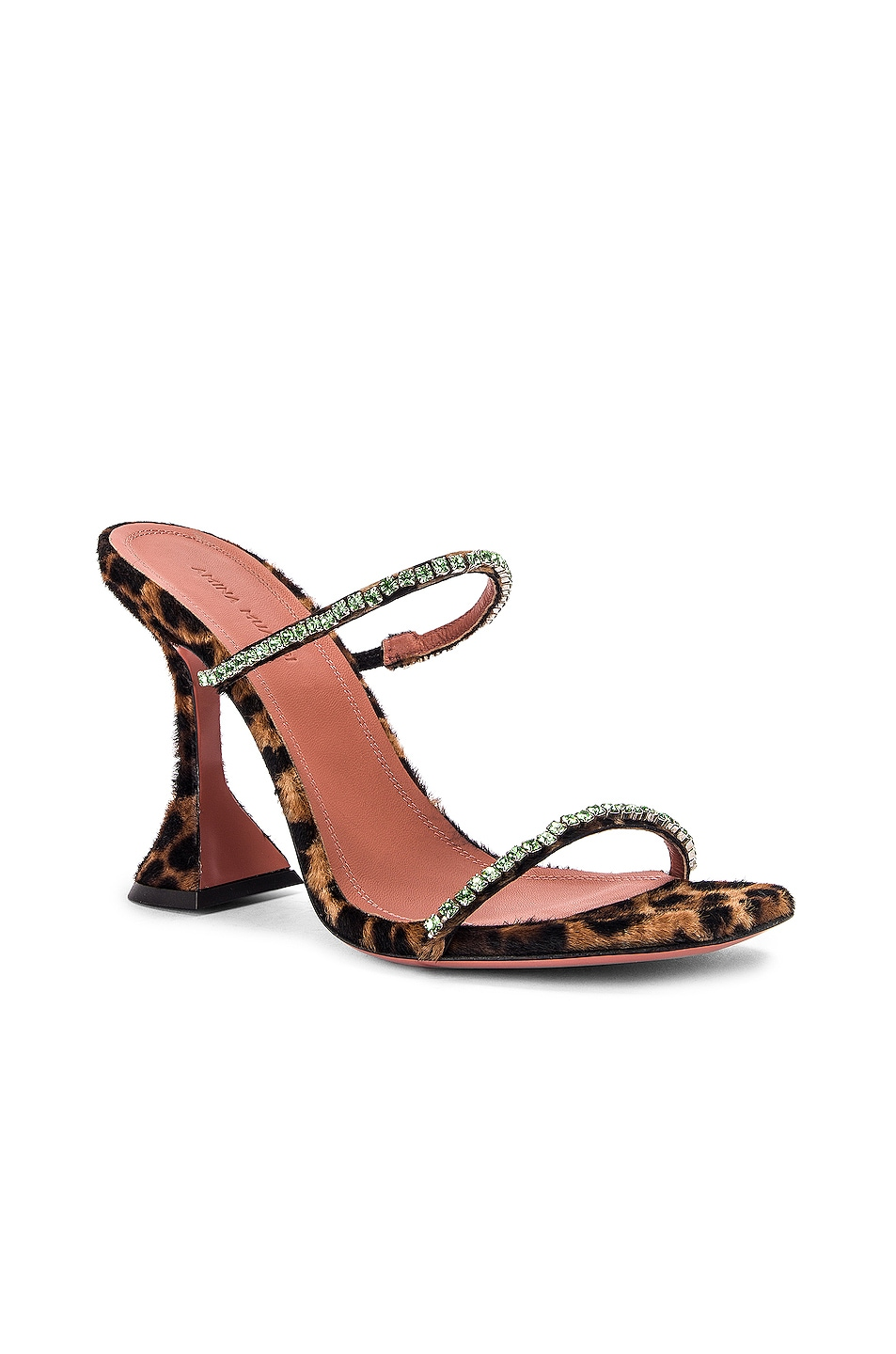 Image 2 of AMINA MUADDI Gilda Slipper in Leopard Pony & Green Strass