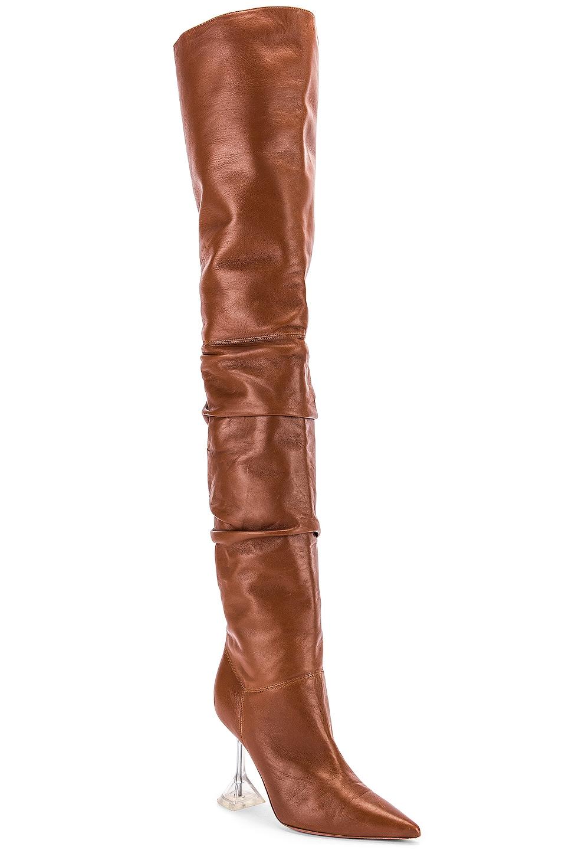 Image 2 of AMINA MUADDI Olivia Boot with Glass Heel in Camel Nappa