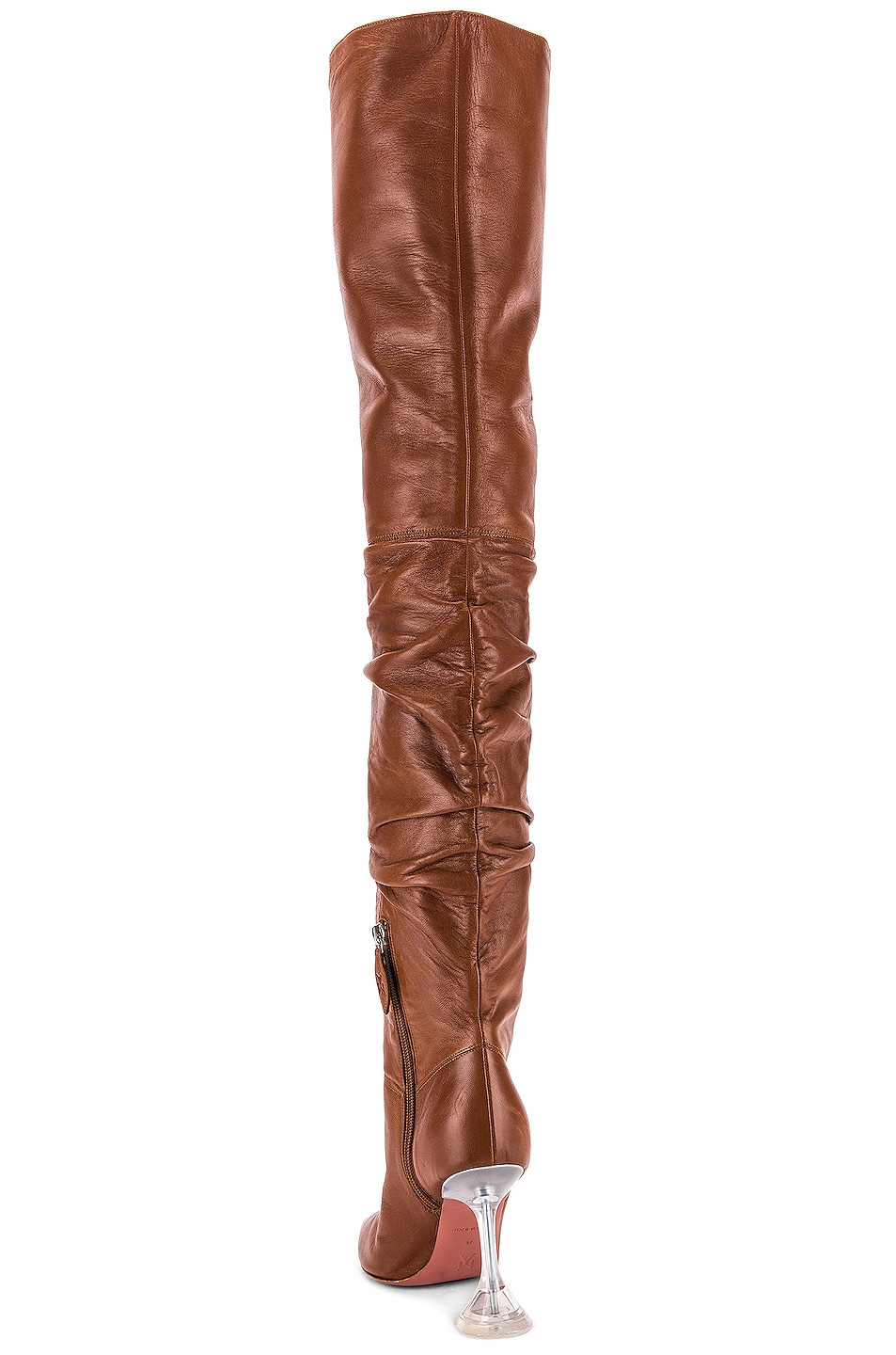 Image 3 of AMINA MUADDI Olivia Boot with Glass Heel in Camel Nappa