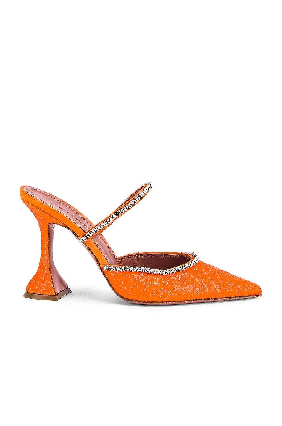 Image 1 of AMINA MUADDI Gilda Mule in Orange Fluo Glitter