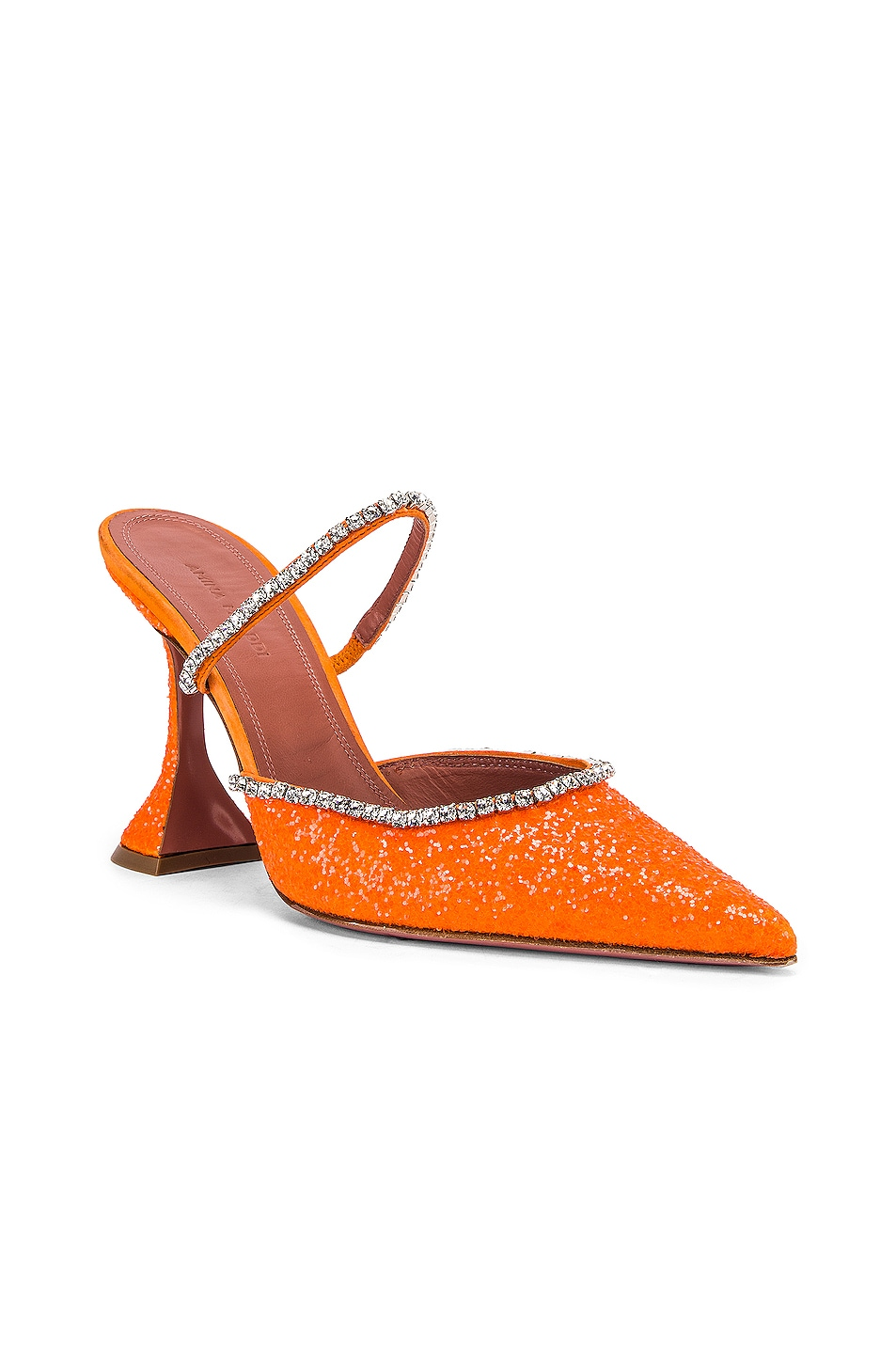 Image 2 of AMINA MUADDI Gilda Mule in Orange Fluo Glitter