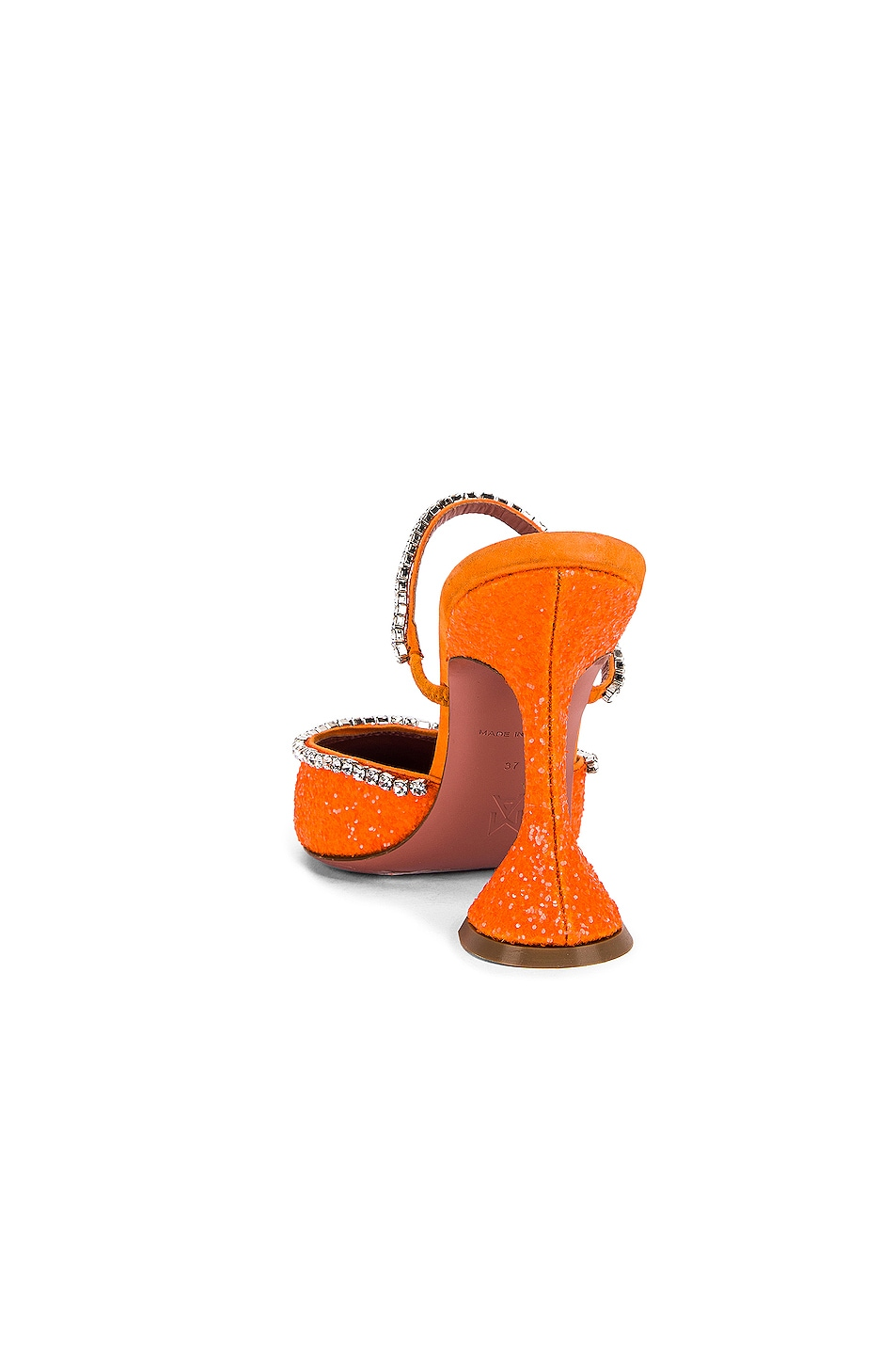 Image 3 of AMINA MUADDI Gilda Mule in Orange Fluo Glitter