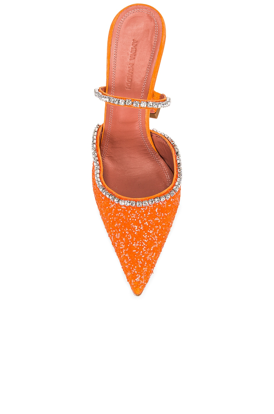 Image 4 of AMINA MUADDI Gilda Mule in Orange Fluo Glitter