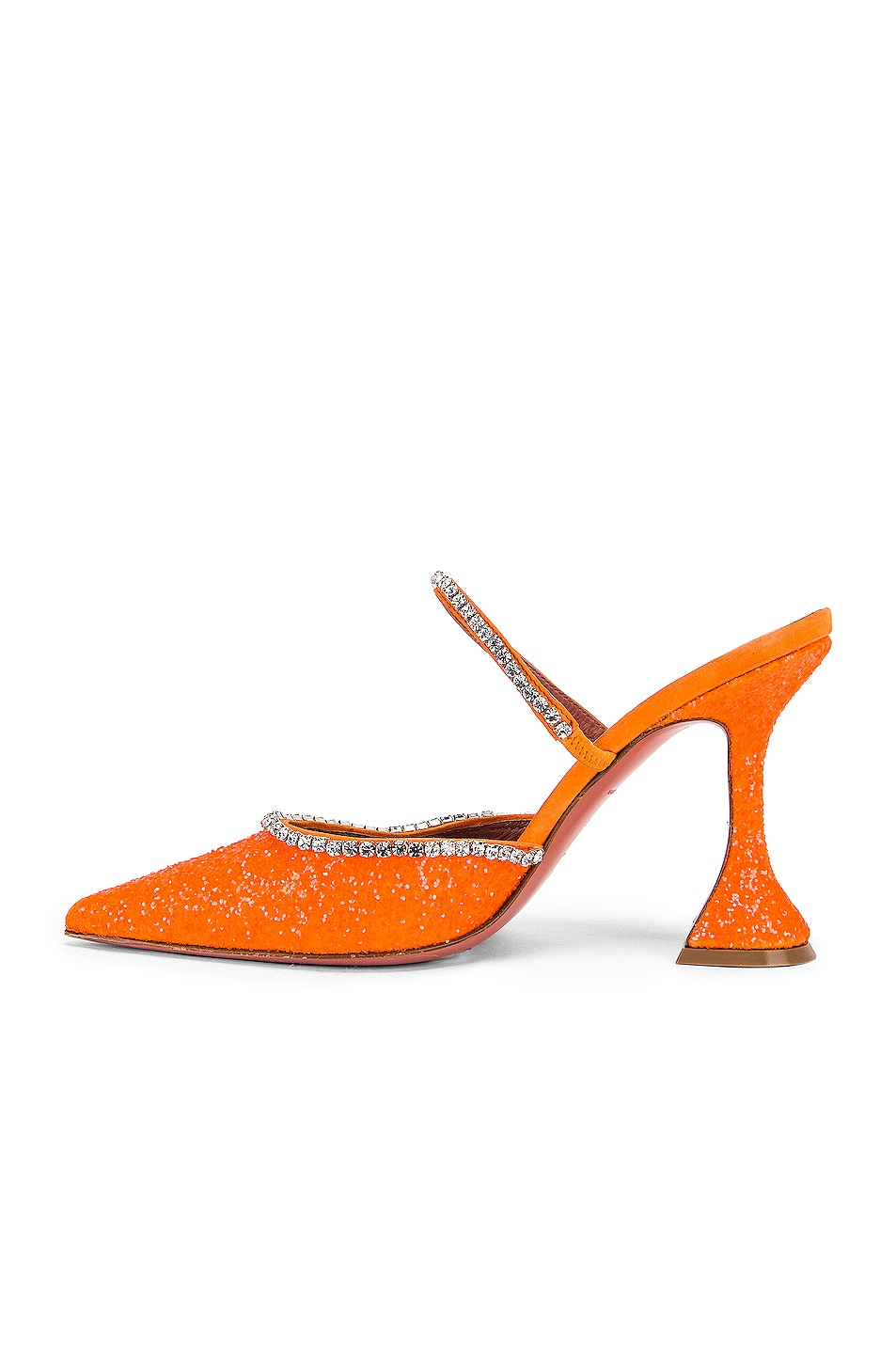 Image 5 of AMINA MUADDI Gilda Mule in Orange Fluo Glitter