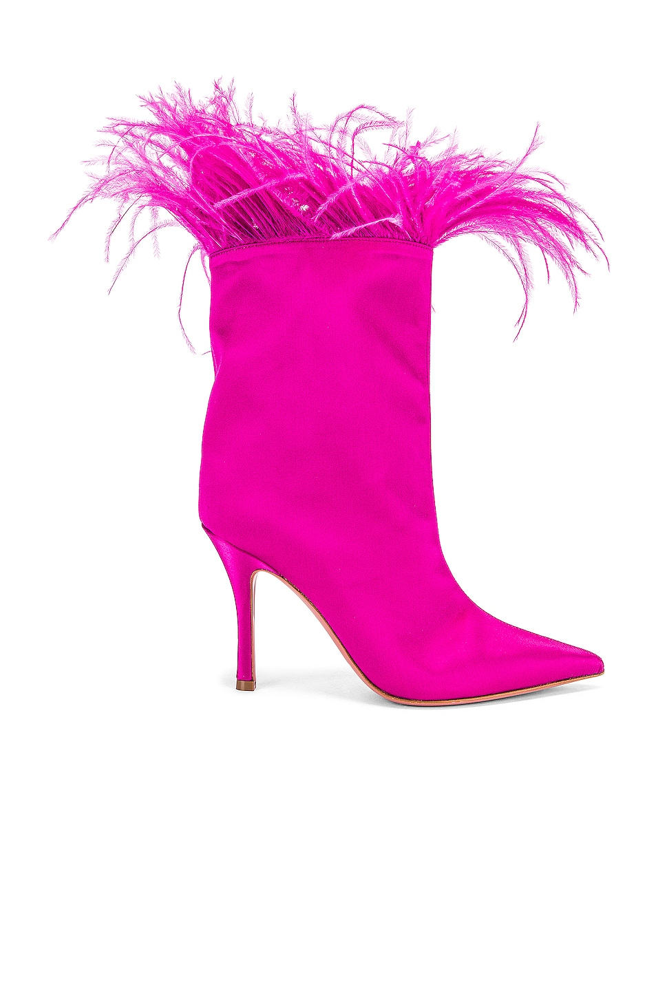 Image 1 of AMINA MUADDI Nakia Plume Satin Boot in Fuchsia Satin