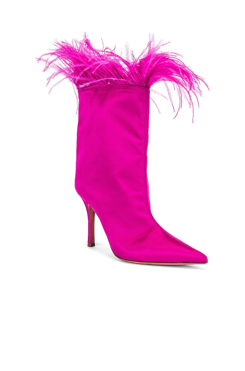 Image 2 of AMINA MUADDI Nakia Plume Satin Boot in Fuchsia Satin