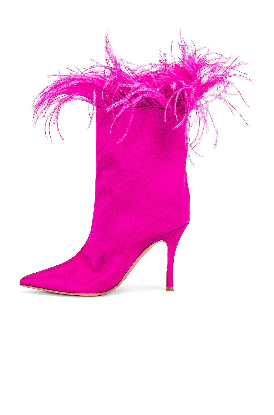 Image 5 of AMINA MUADDI Nakia Plume Satin Boot in Fuchsia Satin