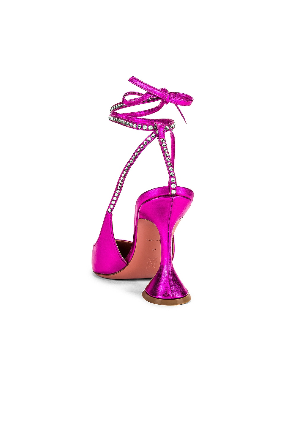 Image 3 of AMINA MUADDI Karma Pump in Fuchsia Metal Nappa