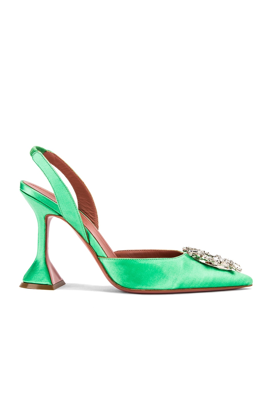 Image 1 of AMINA MUADDI Begum Satin Slingback in Aqua Green