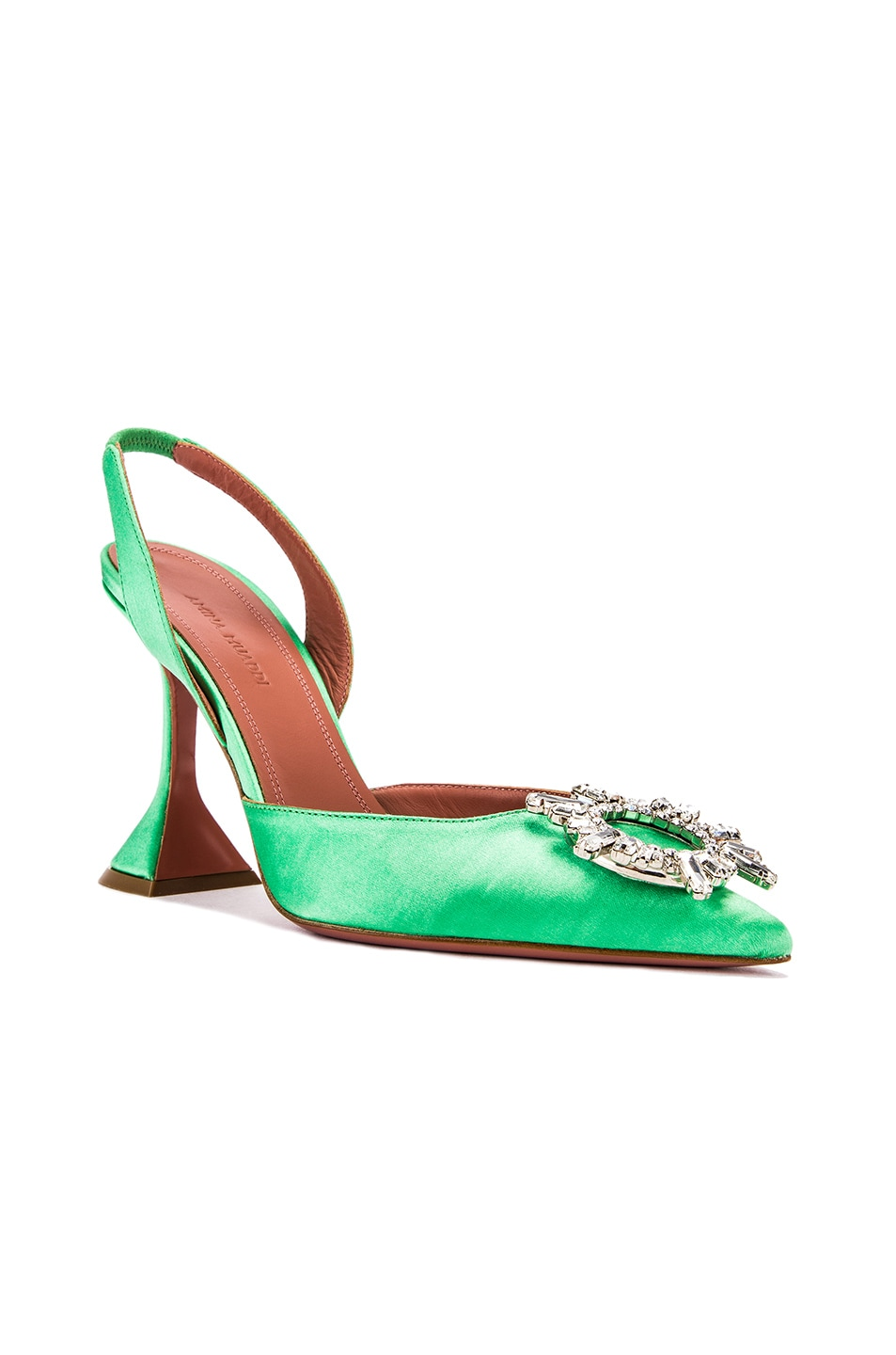 Image 2 of AMINA MUADDI Begum Satin Slingback in Aqua Green