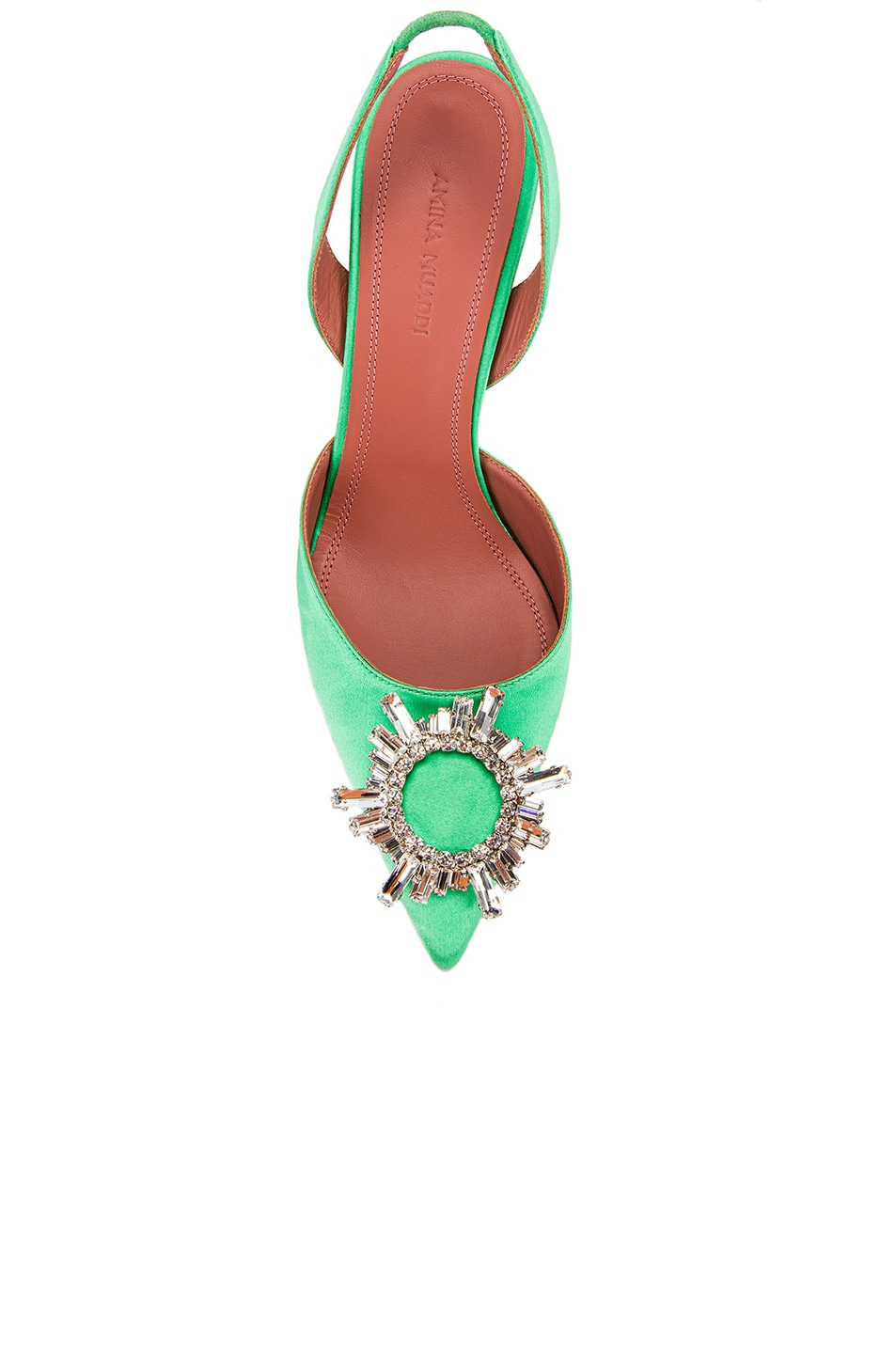 Image 4 of AMINA MUADDI Begum Satin Slingback in Aqua Green