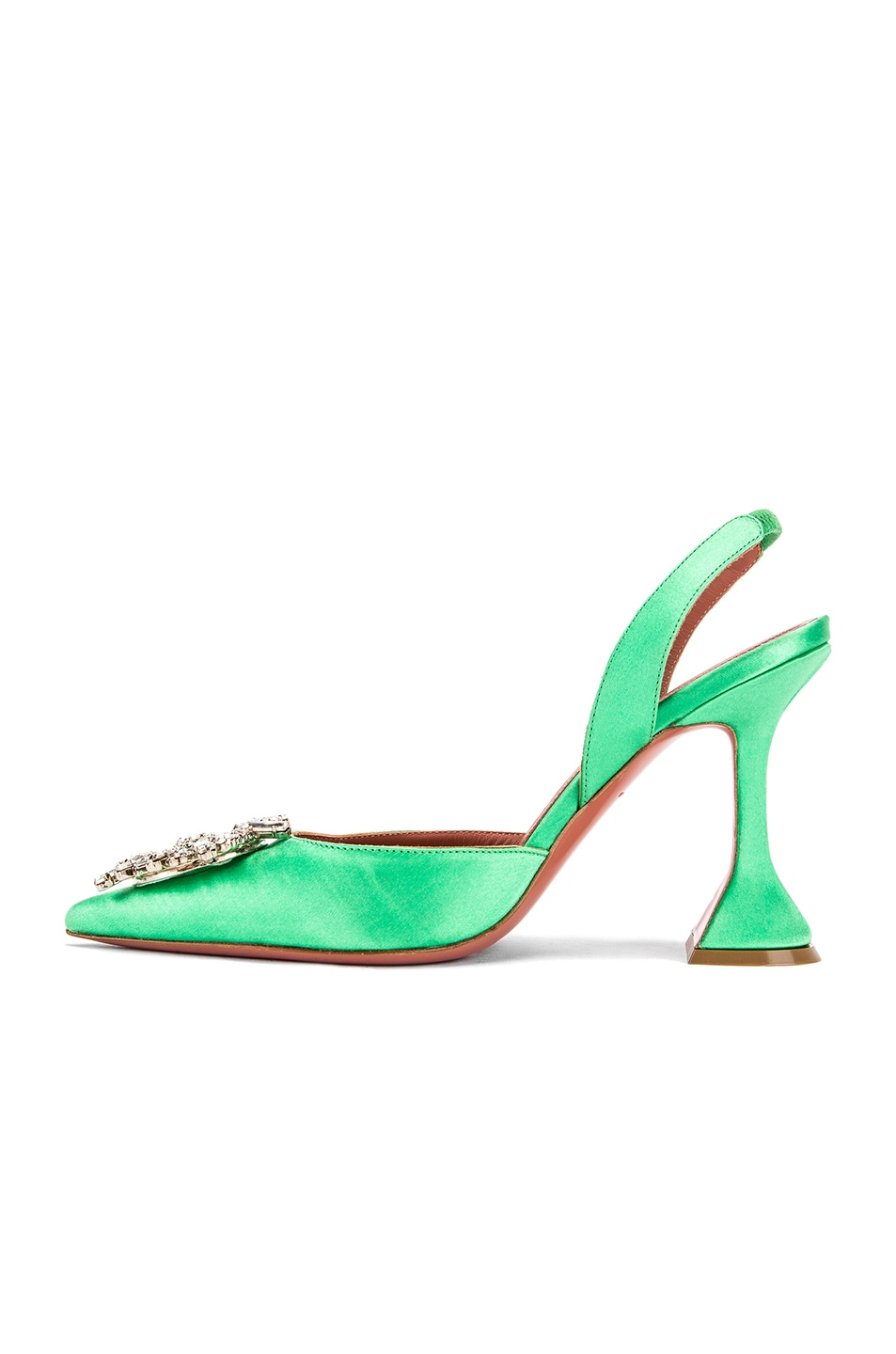 Image 5 of AMINA MUADDI Begum Satin Slingback in Aqua Green
