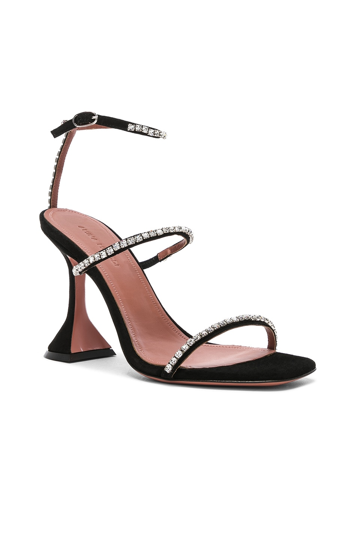 Image 2 of AMINA MUADDI Suede Gilda Sandals in Black & Crystals