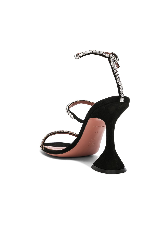 Image 3 of AMINA MUADDI Suede Gilda Sandals in Black & Crystals