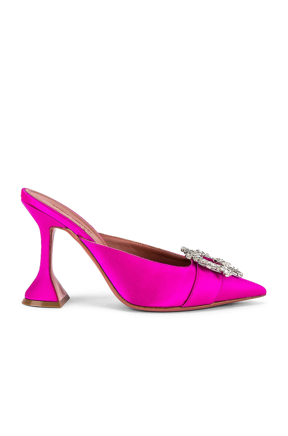 Image 1 of AMINA MUADDI Begum Satin Mule in Fuchsia