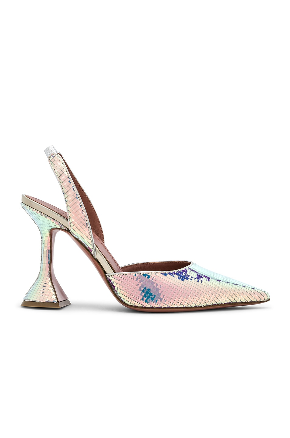 Image 1 of AMINA MUADDI Hologram Leather Holli Slingback Pumps in Disco