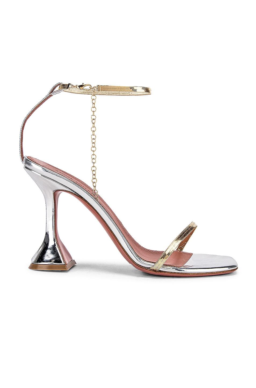 Image 1 of AMINA MUADDI Henson Sandal in Silver Mirror