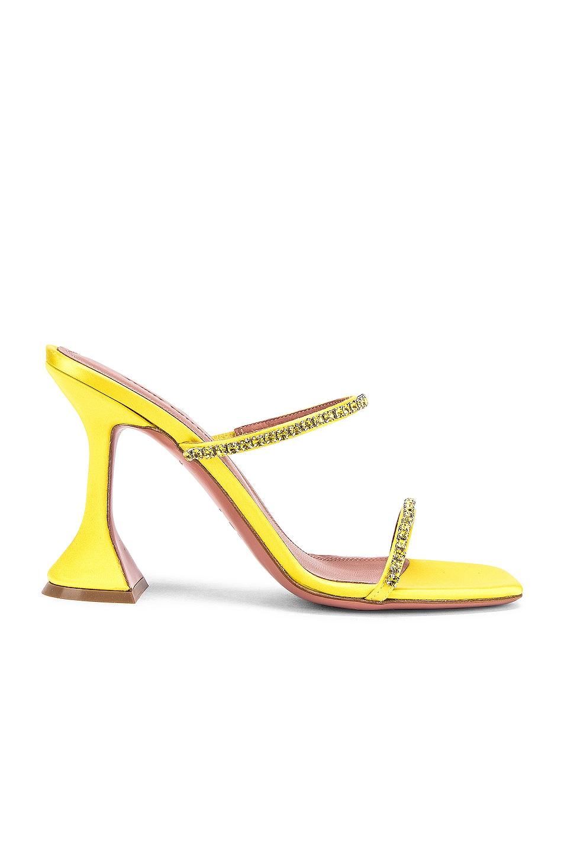 Image 1 of AMINA MUADDI Gilda Satin Slipper in Yellow
