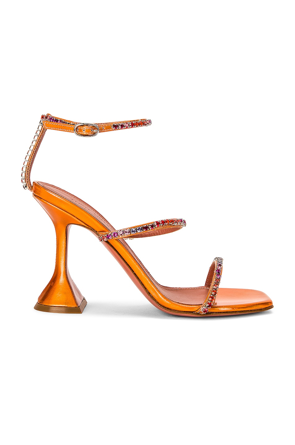 Image 1 of AMINA MUADDI Gilda Sandal in Orange Hologram & Sunset Rainbow
