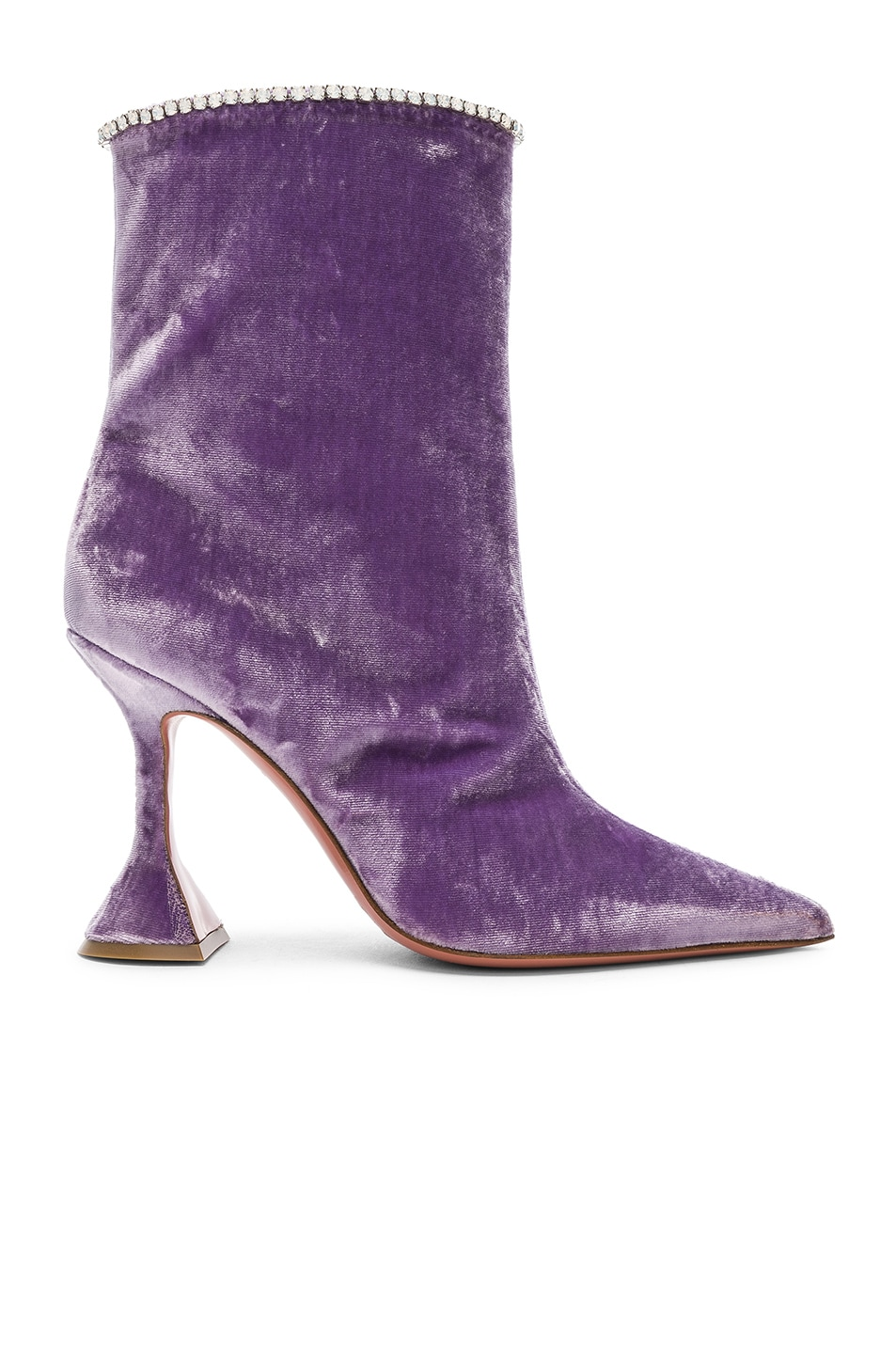Image 1 of AMINA MUADDI Velvet Mia Boots in Lilac & Crystals