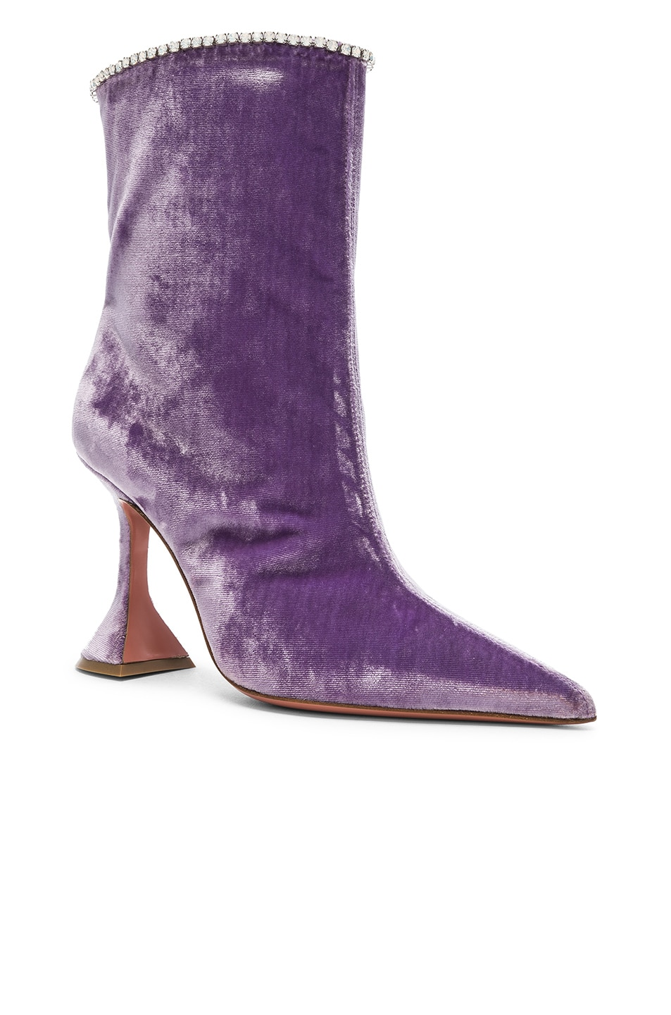 Image 2 of AMINA MUADDI Velvet Mia Boots in Lilac & Crystals