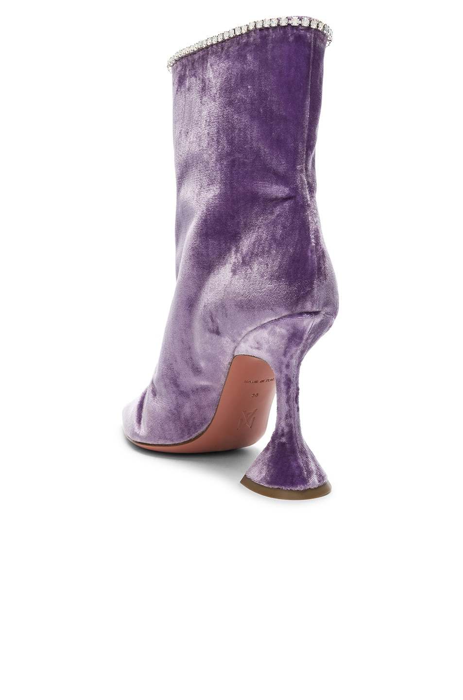 Image 3 of AMINA MUADDI Velvet Mia Boots in Lilac & Crystals